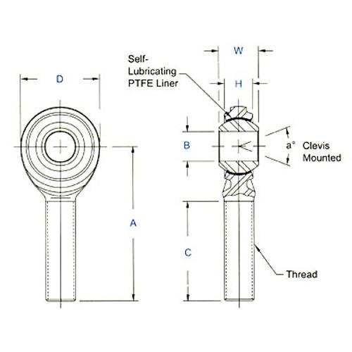 "Aurora Bearing 1/4"" Bore x 3/8""-24 Thread LH Male Mild Steel Rod End"