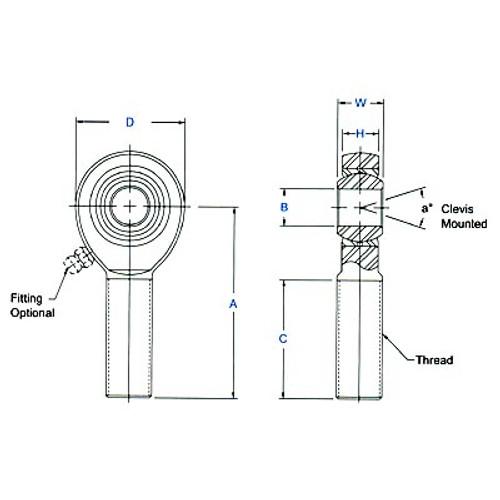 "Aurora Bearing 3/16"" Bore x 1/4""-28 Thread RH Male Mild Steel Rod End"