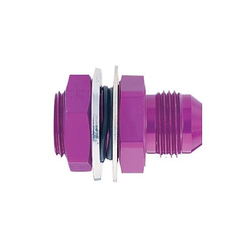 -12 AN Bulkhead Fitting, Aluminum, Purple