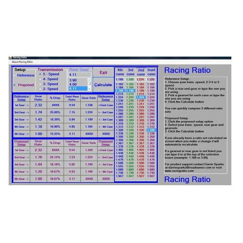 Racing Ratio Lenco Transmission Ratio Software