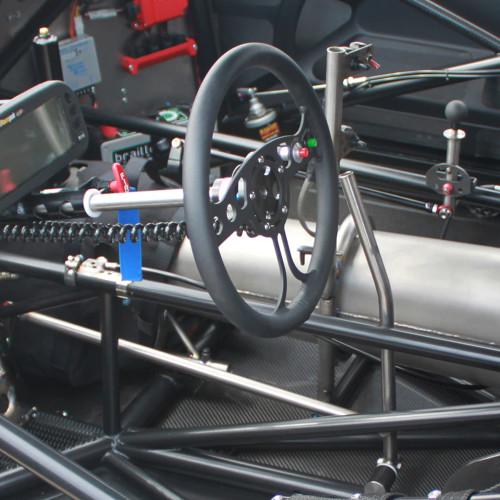 """RJ Max Light Steering Wheel 12"""" Black 5-Bolt  Installed in an RJ Race Car"""