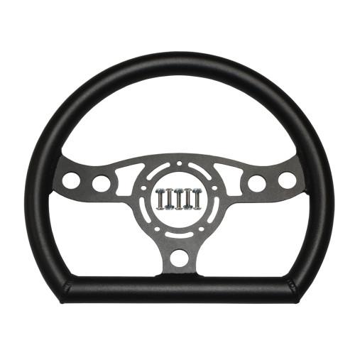 """RJ Max Light Steering Wheel 12"""" D-Shape Black 5-Bolt"""