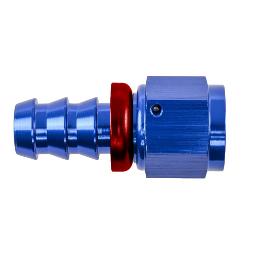 -12 AN Straight Push Fit Hose End, Aluminum, Blue & Red