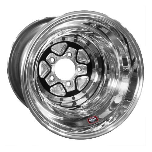 "Weld Racing AlumaStar Pro Liner, 16"" x 16"", 5"" x 5.5"", 5"" BS, Black Center, Polished Shell"