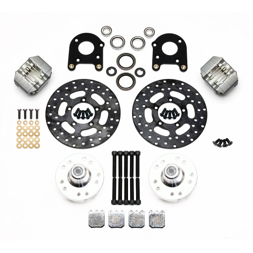 Dynapro Single Front Drag Brake Kit, 71-80 Pinto/Mustang II Disc & Drum - Kit contents