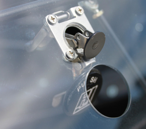 Quarter-Max Window Latch Kit - Installed. Note: this photo represents the latches with the RJ logo.