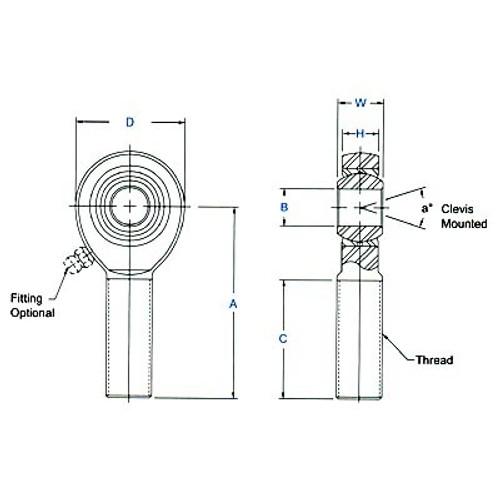 "Aurora Bearing 1/2"" x 3/4""-16 RH Male 4130 Rod End, PTFE Lined"