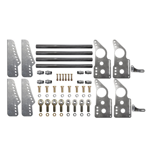 """Quarter-Max 300035 4-Link Kit with 3-1/2"""" Axle Tube Hole Size Housing Brackets, Rod Ends, and 3/4"""" Wide Billet Adjustable Double Shear Shock Mounts"""