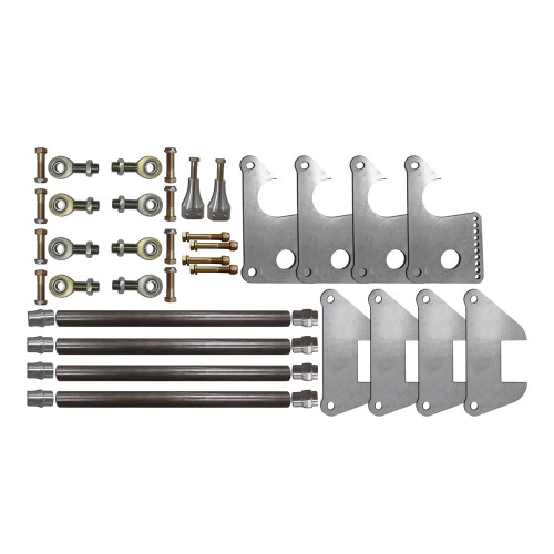 Street 4-Bar Kit with Billet Adjustable Shock Mounts -Mild Steel Rod Ends