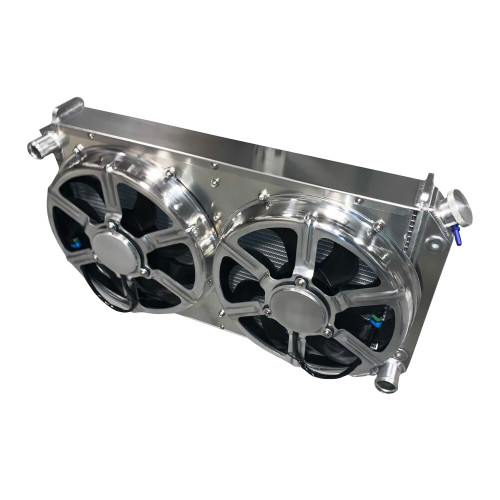 """Entropy Radiator 1968-1977 Buick 1000 Horsepower Cooling Power Radiator with Dual 16"""" HPX Fans"""