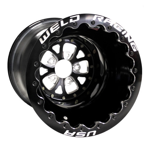 "Weld Racing V-Series DBL, 16"" x 16"", 5"" x 5"", 4"" BS, Black Shell/Center/Ring"