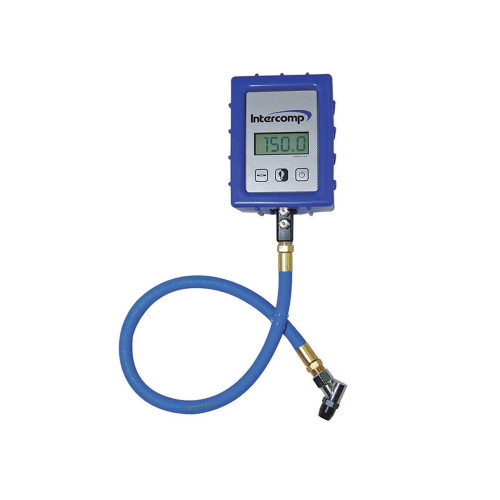 Intercomp Digital Air Pressure Gauge with Angle Chuck, 150 PSI