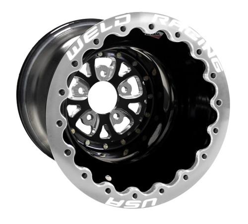 "Weld Racing V-Series DBL, 16"" x 16"", 5"" x 5"", 5"" BS, Black Shell/Center, Polished Ring"