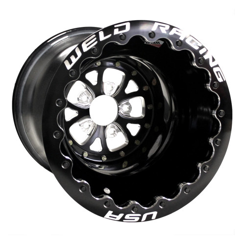 "Weld Racing V-Series DBL, 16"" x 16"", 5"" x 4.75"", 4"" BS, Black Shell/Ring, Polished Center"