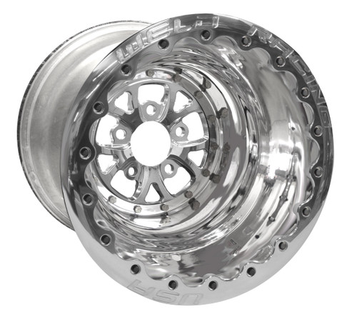 "Weld Racing V-Series DBL, 16"" x 16"", 5"" x 4.75"", 4"" BS, Polished Shell/Center/Ring"