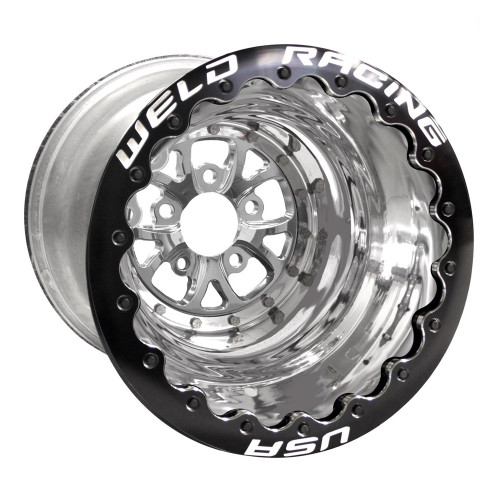 "Weld Racing V-Series DBL, 16"" x 16"", 5"" x 4.75"", 4"" BS, Polished Shell/Center, Black Ring"