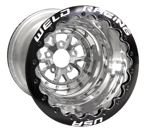 "Weld Racing V-Series DBL, 16"" x 16"", 5"" x 5"", 4"" BS, Polished Shell/Center, Black Ring"