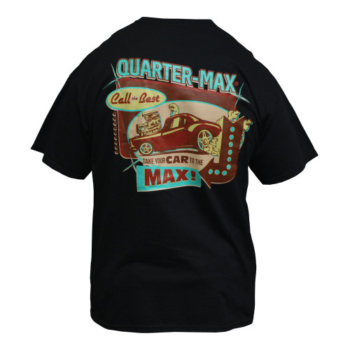Quarter-Max Vintage T-Shirt, Black - Back