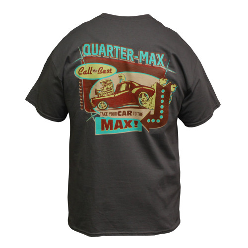 Quarter-Max Vintage T-Shirt, Charcoal - Back