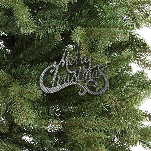 Quarter-Max Silver Carbon Merry Christmas Ornament - on tree