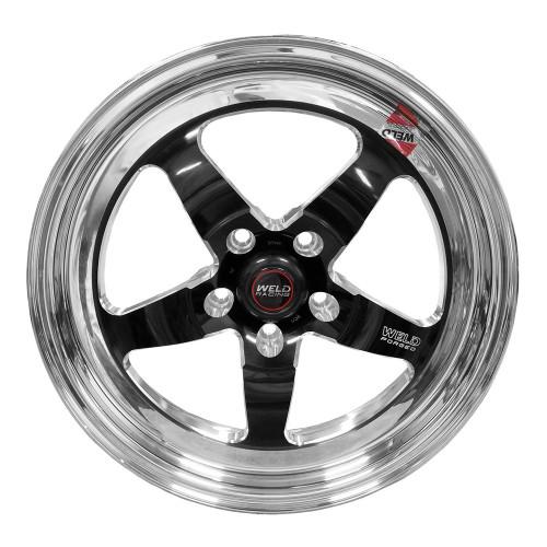 "Weld Racing S71, 17"" x 5"", 5"" x 4.5"", 2.2"" BS, Black Center, Polished Shell, High Pad"