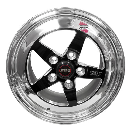 "Weld Racing S71, 15"" x 10"", 5"" x 4.75"", 7.5"" BS, Black Center, Polished Shell, Medium Pad"