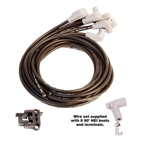 MSD Black Super Conductor Wire Set, Universal 8 Cyl 90° Plug/90° Plug