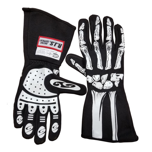 RJS Racing Equipment Single Layer Skeleton Nomex Racing Gloves, SFI 3.3/1, Black, 2-XLarge