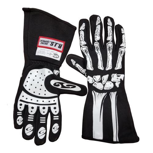 RJS Racing Equipment Single Layer Skeleton Nomex Racing Gloves, SFI 3.3/1, Black, 2-XLarge