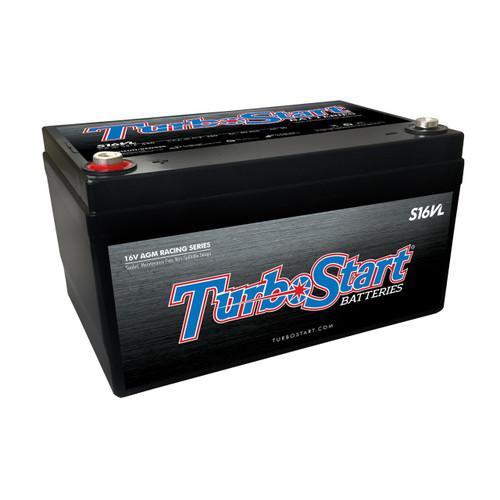 "TurboStart S16VL 16 Volt Lightweight AGM Race Battery, 10.30"" L x 6.75"" W, 6.00"" H"