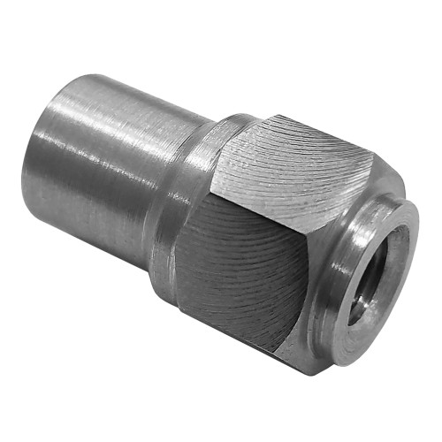 "1/4""-28 LH x 1/2"" .049"" Tube Adapter, Hex Style"