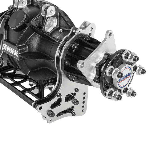 Strange Engineering H1190 Aluminum 4-Link Housing, 2pc Axles, & Pro Carbon Brakes. Shown with optional 4-link mounts.