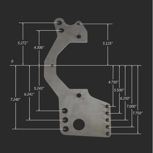 Strange Engineering H1150PH4 Aluminum Dragster Housing Mounting Plate - 4-Link - with dimensions
