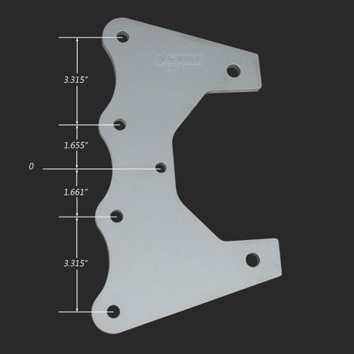 Strange Engineering H1150PS Aluminum Dragster Housing Mounting Plate - Finished - with dimensions
