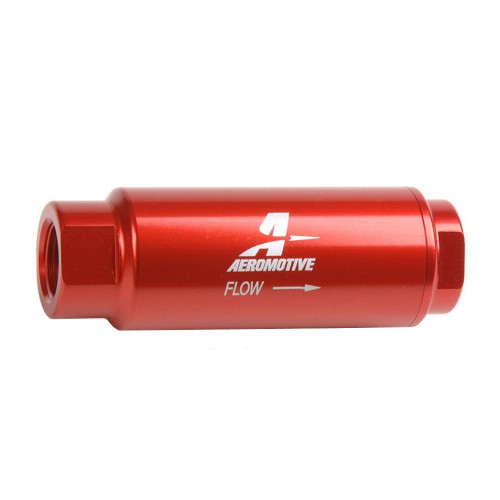 """Aeromotive 12316 SS Series Filter, In-Line, 100-m Stainless Mesh Element, 3/8"""" NPT, Red"""