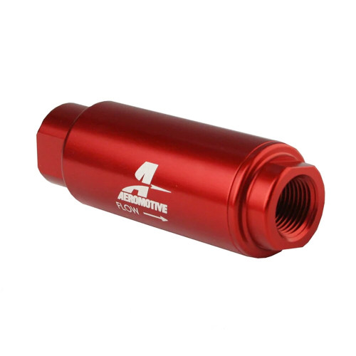 "Aeromotive 12316 SS Series Filter, In-Line, 100-m Stainless Mesh Element, 3/8"" NPT, Red"
