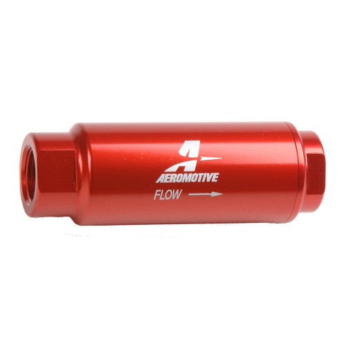 """Aeromotive 12303 SS Series Filter, In-Line, 40-m Fabric Element, 3/8"""" NPT, Red"""