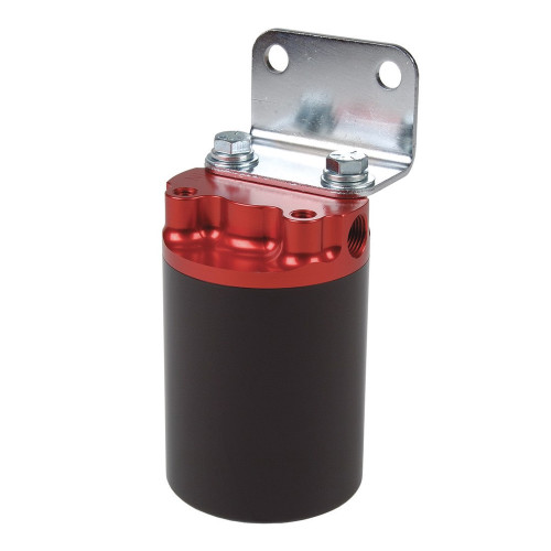 "Aeromotive 12317 SS Series Filter, Canister, 10-m Fabric Element, 3/8"" NPT, Red/Black"