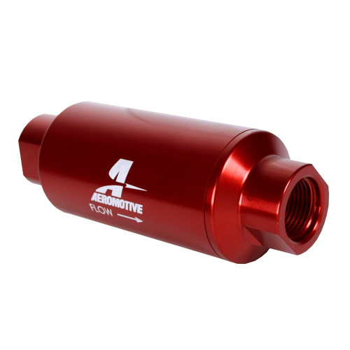 Aeromotive 12340 Filter, In-Line, 10-m Microglass Element, ORB-10, Red