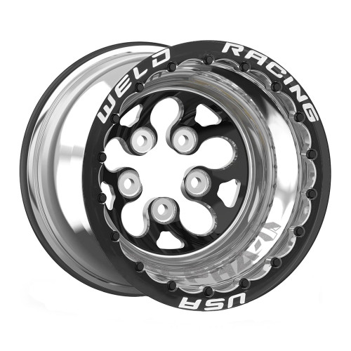 "Weld Racing Alpha-1 DBL, 15"" x 10"", 5"" x 4.75"", 4"" BS, Polished Shell, Black Center/Ring"