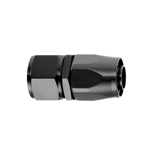 -12 AN Straight Hose End, Aluminum, Black