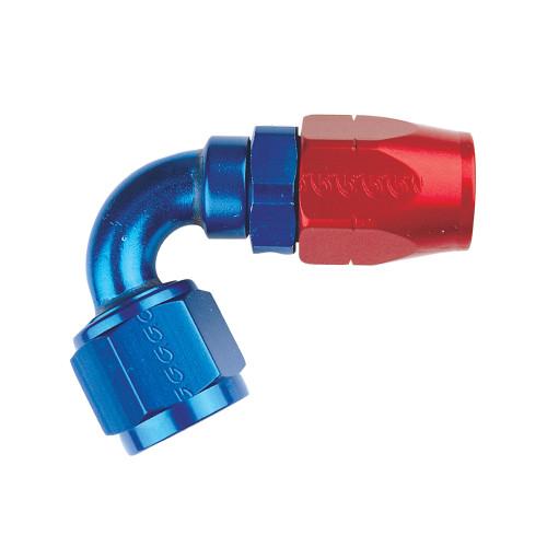 -16 AN 120 Degree Hose End, Aluminum, Blue & Red
