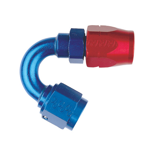 -10 AN 150 Degree Hose End, Aluminum, Blue & Red