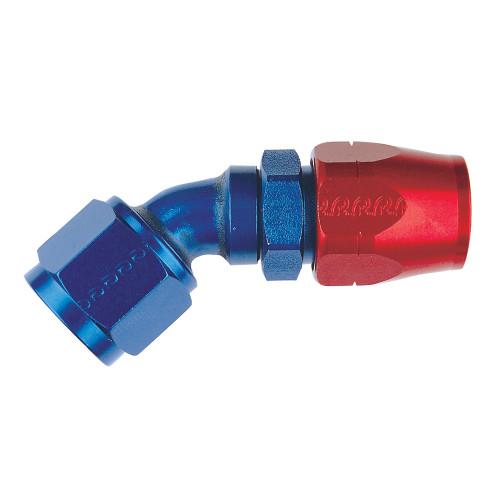 -10 AN 45 Degree Hose End, Aluminum, Blue & Red