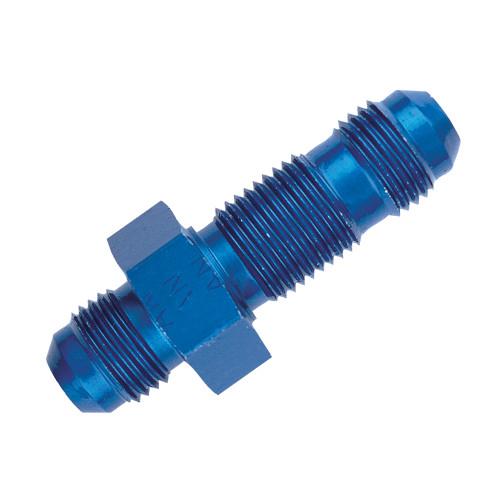 -12 AN Straight Bulkhead Fitting, Aluminum, Blue