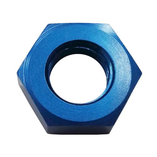 -12 AN Bulkhead Nut, Aluminum, Blue