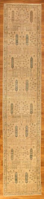 2'8 X 13'6 Light colors tree design rug