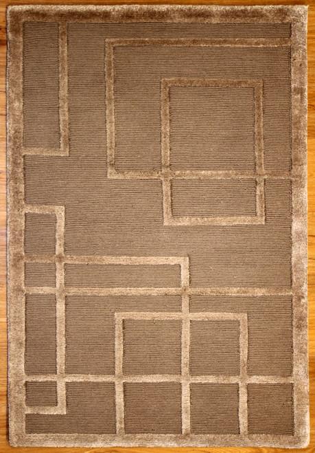 modern design brown rug with silk