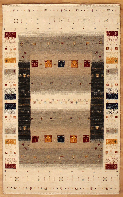 handmade Indian rug with Persian Gabbeh design