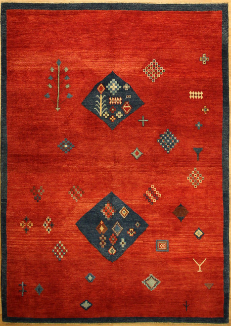 red and blue tribal design rug